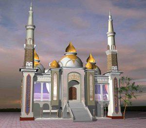 Rencana gambar Renovasi Masjid Besar Almuttaqin dari depan